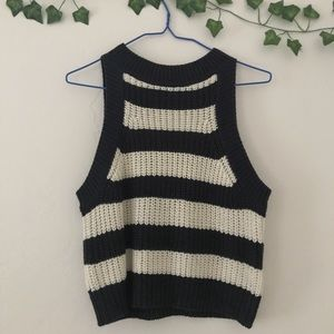 Tops - Navy and white stripe cropped sweater tank